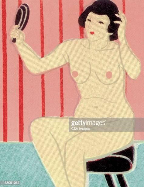 bildbanksillustrationer, clip art samt tecknat material och ikoner med nude woman holding hand mirror - naket