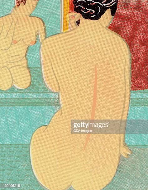 bildbanksillustrationer, clip art samt tecknat material och ikoner med nude woman in front of mirror - naken