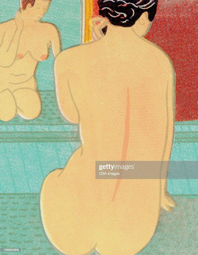 Mujer desnuda en la parte frontal de espejo : Ilustración de stock