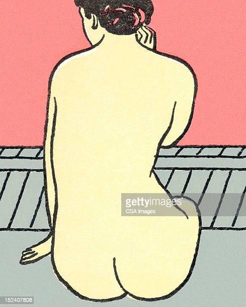 ilustraciones, imágenes clip art, dibujos animados e iconos de stock de mujer desnuda de estar - mujer desnuda