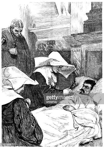 Nun blessing patient during Siege of Paris (1881 illustration)