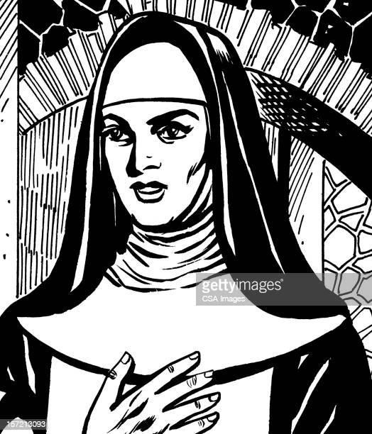 nun - religious dress stock illustrations, clip art, cartoons, & icons