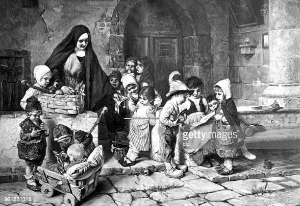 nun's handing over the christmas presents to children at the orphanage - christmas past and christmas present stock illustrations