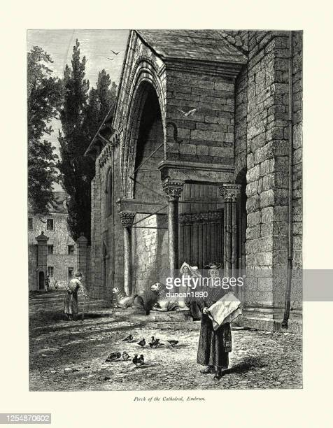 nuns, priest on porch of embrun cathedral, france, 19th century - embrun stock illustrations
