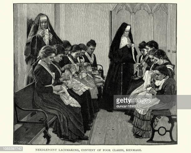 stockillustraties, clipart, cartoons en iconen met nonnen die lesgeven needlepoint kantklos naar meisjes, 19e eeuw - klooster