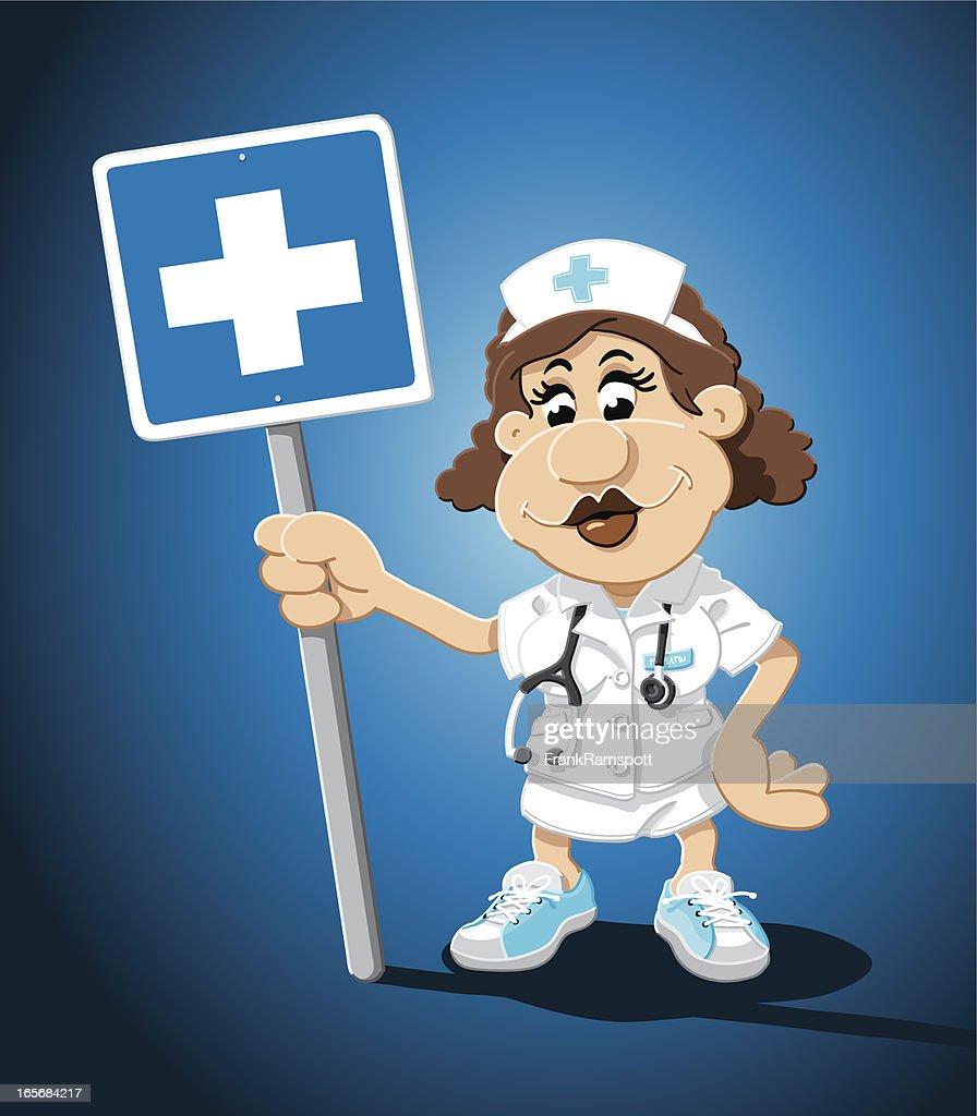 Nurse Cartoon Woman Hospital Sign