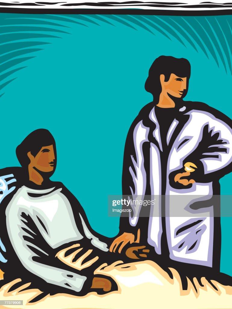 A nurse checking a patient's pulse : Illustration