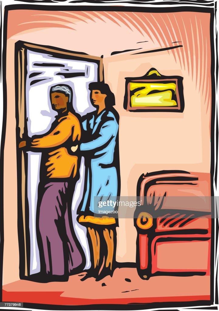 nurse helping patient return to room : Illustration