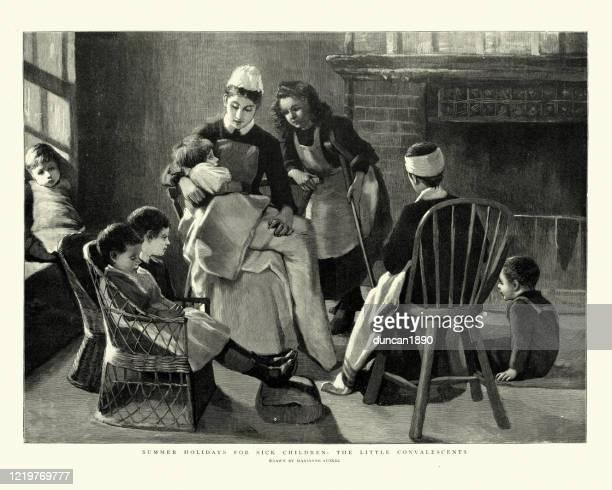 ilustraciones, imágenes clip art, dibujos animados e iconos de stock de enfermera que cuida a niños enfermos, victoriano siglo xix - enfermera