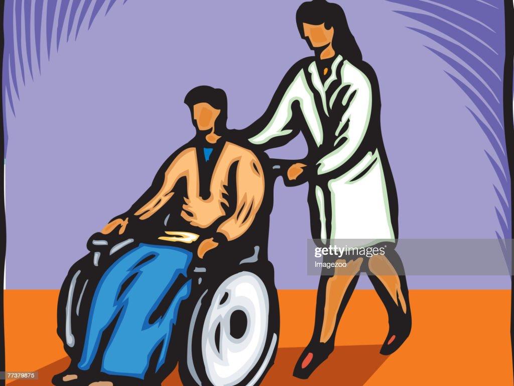 Nurse pushing a patient's wheelchair : Illustration