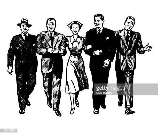 nurse walking with four men - arm in arm stock illustrations, clip art, cartoons, & icons
