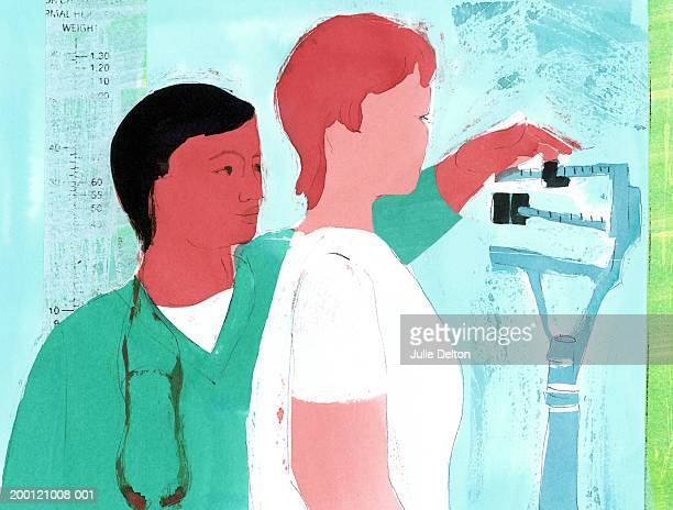 Nurse weighing patient on scale