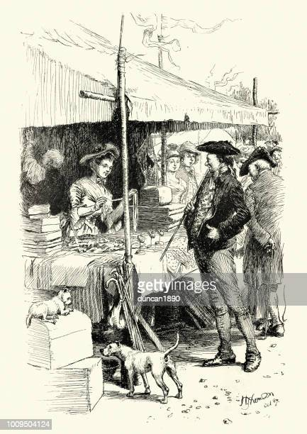 ilustraciones, imágenes clip art, dibujos animados e iconos de stock de rima, tan de largo de johnny en la feria - puesto de mercado
