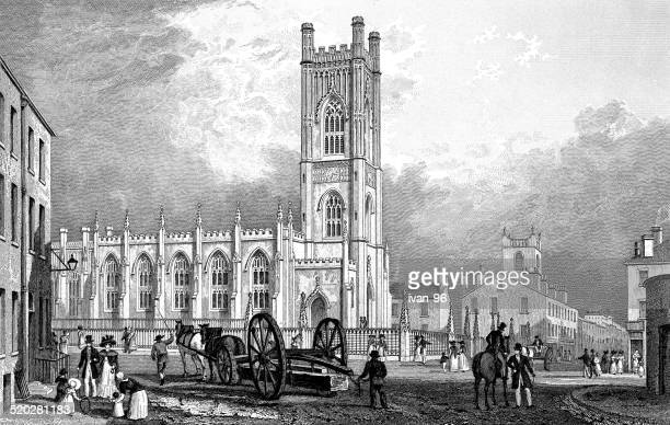 n.w. view of st. luke`s church, liverpool - spire stock illustrations, clip art, cartoons, & icons