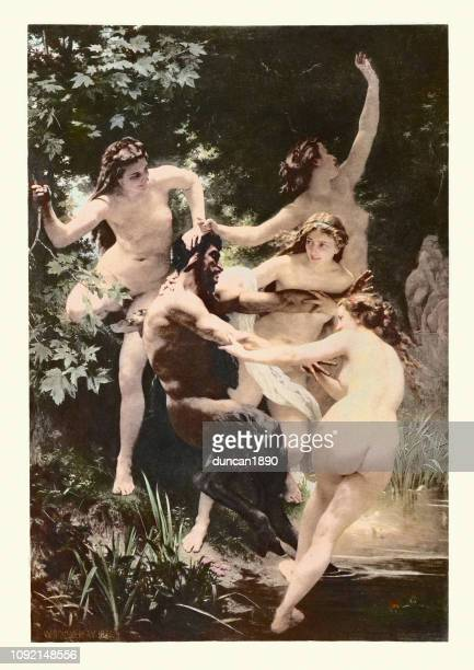 illustrazioni stock, clip art, cartoni animati e icone di tendenza di nymphs and satyr, william-adolphe bouguereau - donna nuda