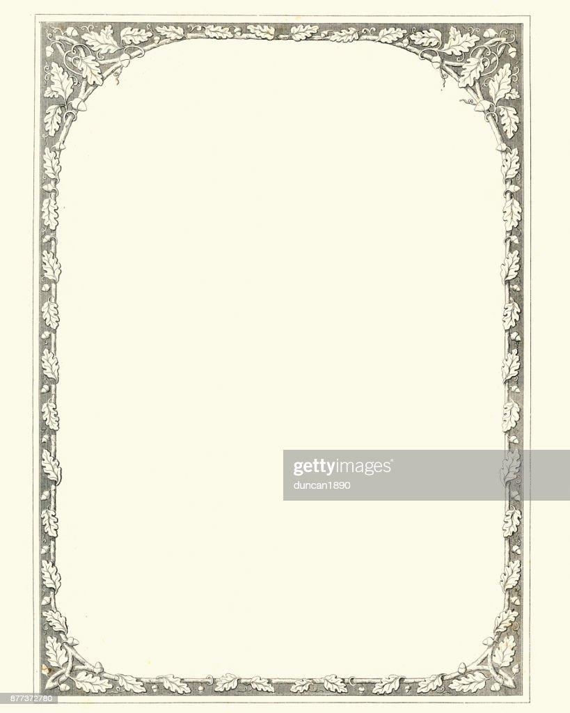 Oak leaf and acorn retro border : Stock Illustration