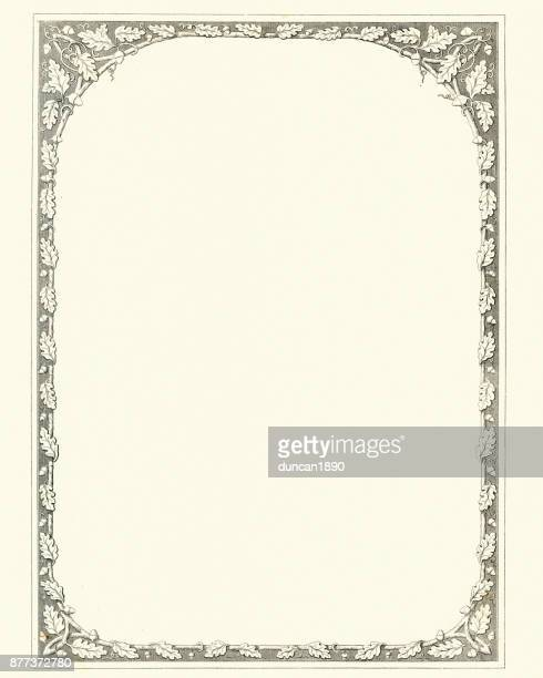 oak leaf and acorn retro border - 19th century style stock illustrations