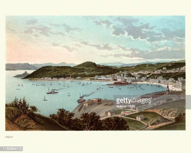 oban, scotland, 19th century - bay of water stock illustrations