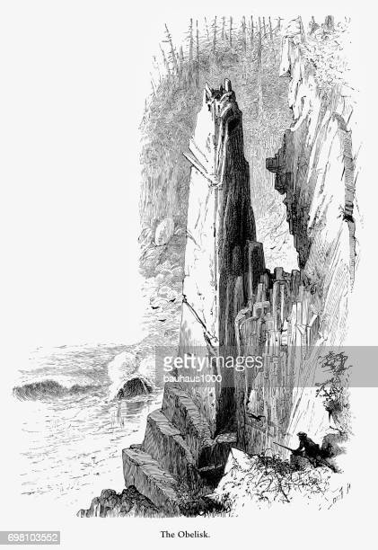 obelisk, acadia national park, maine, united states, american victorian engraving, 1872 - hancock county stock illustrations, clip art, cartoons, & icons