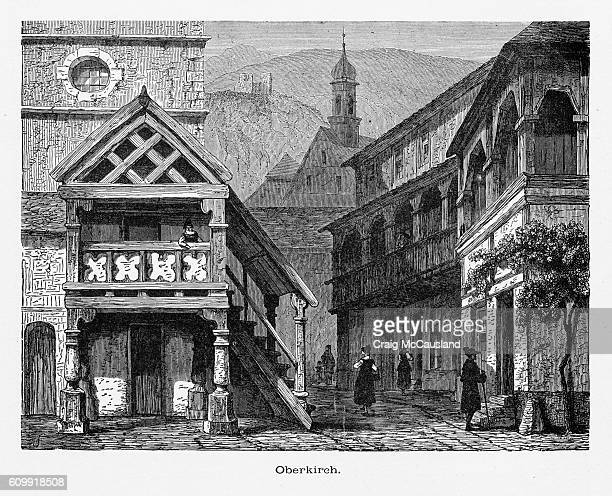 oberkirch in the black forest, strasburg, strasbourg, germany, circa 1887 - steeple stock illustrations, clip art, cartoons, & icons