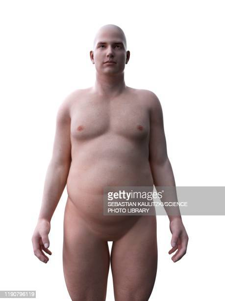 obese man, illustration - digitally generated image stock illustrations