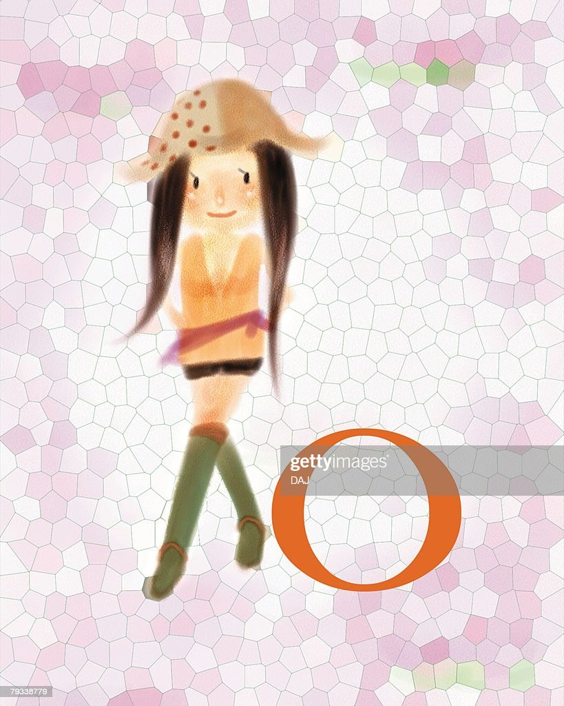 O-blood-type woman in hat, front view : Stock Illustration