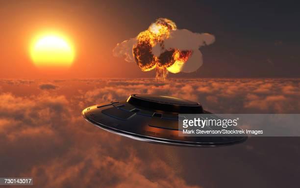 A UFO observing an atomic bomb blast.