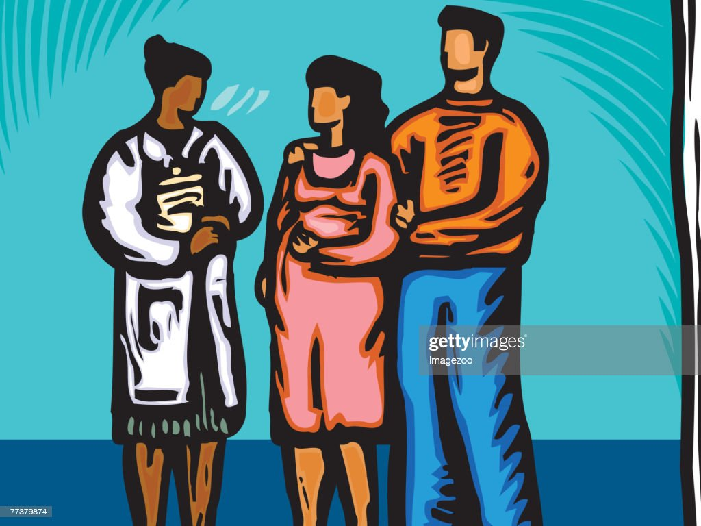 Obstetrician talking to a pregnant couple : Illustration