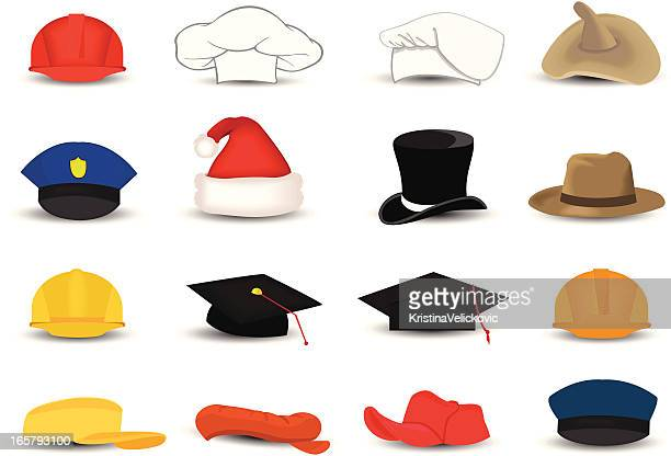 occupation hats - cap hat stock illustrations, clip art, cartoons, & icons