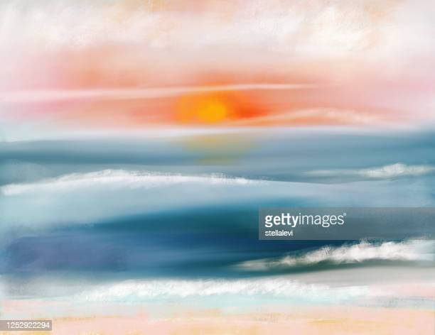 ocean at sunset painting. waves. sandy beach. - stellalevi stock illustrations