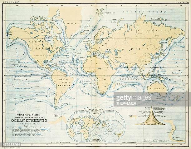 ilustraciones, imágenes clip art, dibujos animados e iconos de stock de mapa 1861 corrientes al mar - marea