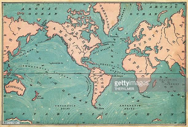 ocean currents map 1876 - pacific ocean stock illustrations, clip art, cartoons, & icons