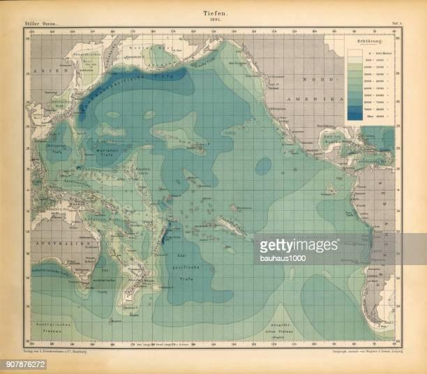illustrazioni stock, clip art, cartoni animati e icone di tendenza di ocean depth chart, oceano pacifico, incisione vittoriana antica tedesca, 1896 - profondo