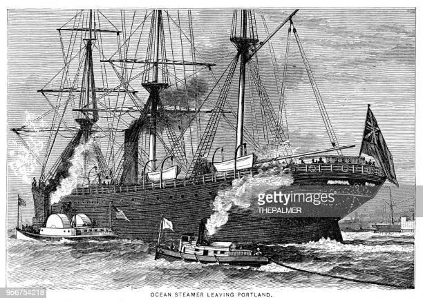 Ocean steamer leaving Portland engraving 1877