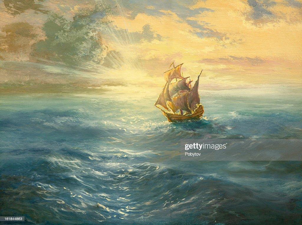 ocean sunset : stock illustration