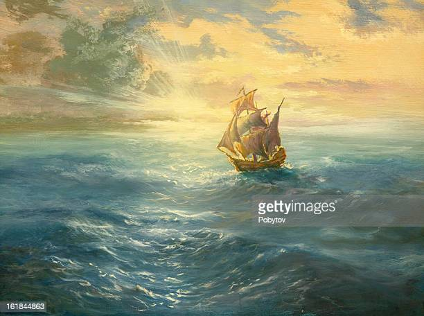 ocean sunset - pirate boat stock illustrations, clip art, cartoons, & icons