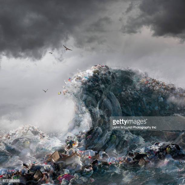 ocean waves of garbage - pollution stock illustrations