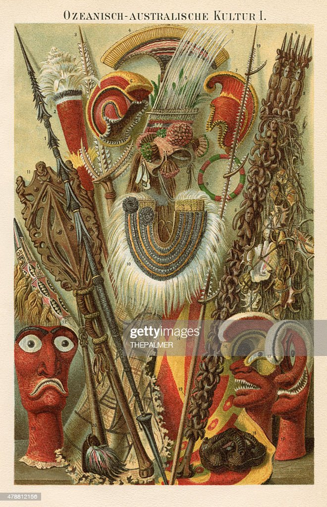 Oceania Australia Culture 1896 : stock illustration