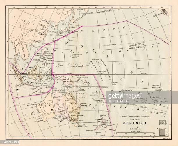Carte Océanie Australie 1881