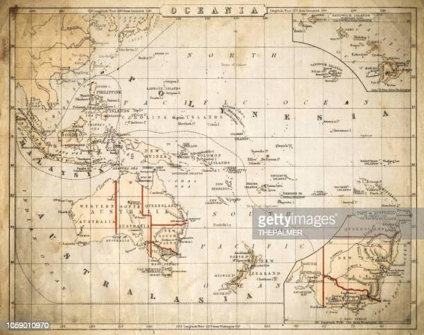 oceania map of 1869 - pacific ocean stock illustrations, clip art, cartoons, & icons