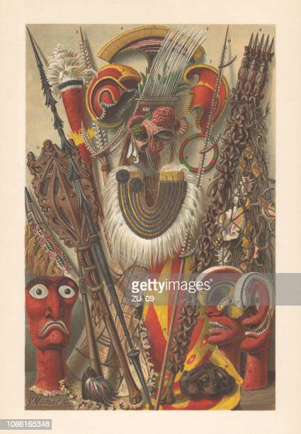 oceanic australian culture - polynesian objects, chromolithograph, published in 1897 - fiji stock illustrations
