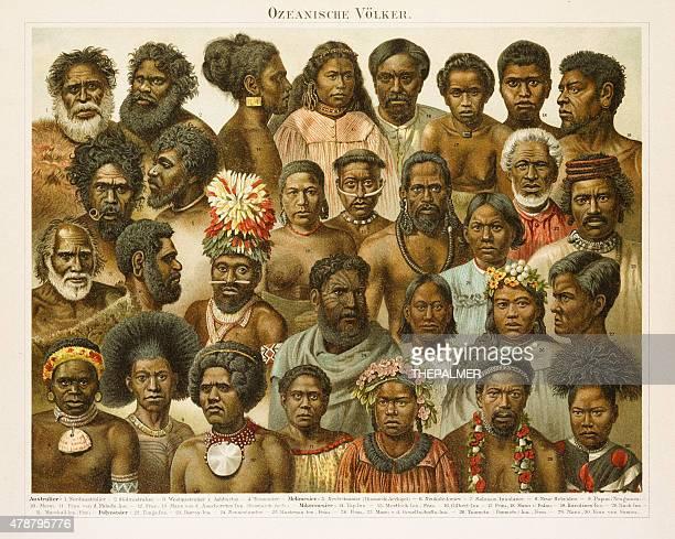 oceanic people chromolithograph 1896 - tonga stock illustrations