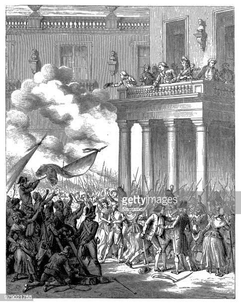 illustrations, cliparts, dessins animés et icônes de 6. octobre 1789, louis xiv, marie antoinette et les enfants royaux sur le balcon du palais de versailles, france - louis 16
