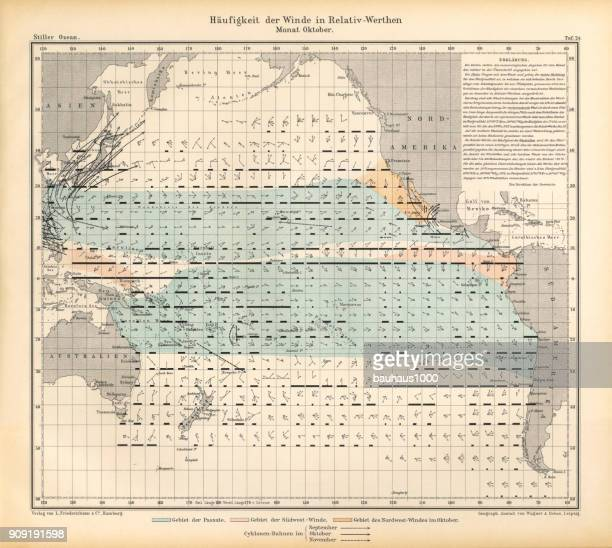 October Frequency of Winds in Relative Values Chart, Pacific Ocean, German Antique Victorian Engraving, 1896
