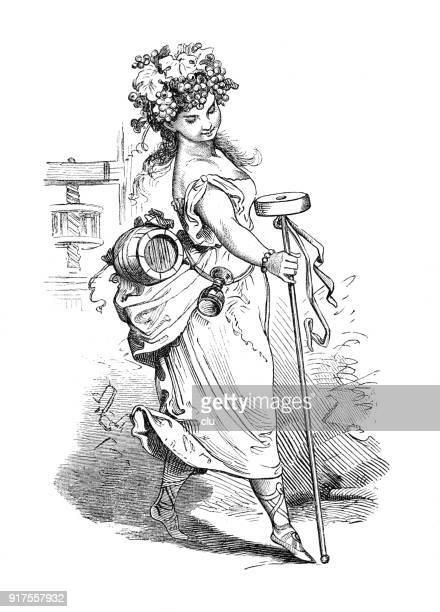 Octobre: jeune femme avec un chapeau de raisins et un tonneau de vin