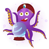 Octopus Fortune Teller with Crystal Ball.