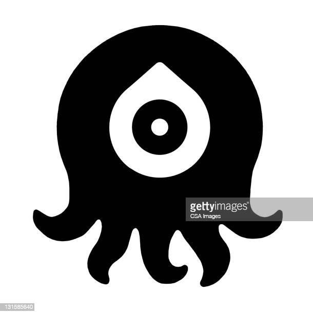 octopus with drop eye - cyclops stock illustrations, clip art, cartoons, & icons