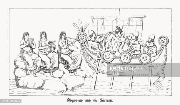 illustrazioni stock, clip art, cartoni animati e icone di tendenza di ulisse e sirene, odissea di omero, incisione su legno, pubblicato nel 1868 - mitologia greca