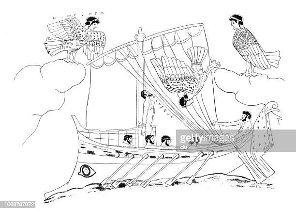 odysseus and the sirens - emergency siren stock illustrations