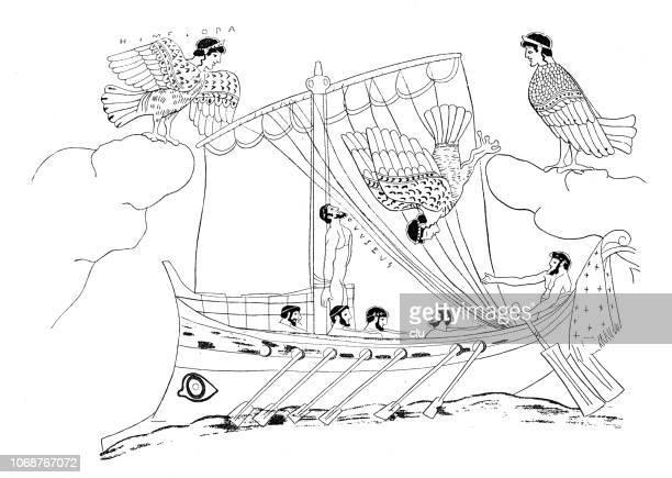 illustrations, cliparts, dessins animés et icônes de ulysse et les sirènes - ulysse